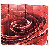 SHUJUNKAIN Biombo Divisor Plegable 228x170 cm Rosa roja Mobiliario Divisores de ambientes Rojo