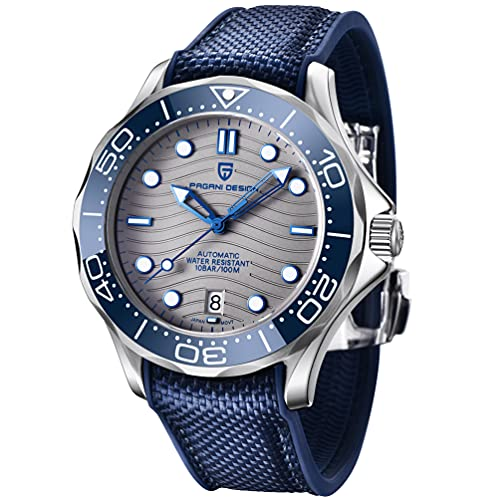 Pagani Design Seamaster - Reloj de buceo automático para hombre con diseño de onda, brazalete de acero inoxidable original, bisel de cerámica, espejo curvo de zafiro, reloj impermeable