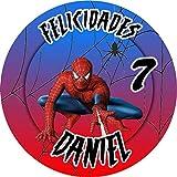 OBLEA de Spiderman Personalizada con Nombre y Edad para Pastel o Tarta, Especial para cumpleaños, Medida Redonda de 20cm de diámetro