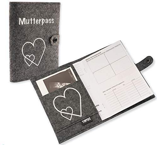 Mutterpasshülle mit Verschluss für deutschen Mutterpass, mit Tasche für Ultraschallbilder/Impfpass, Mutterpass Hülle aus Filz