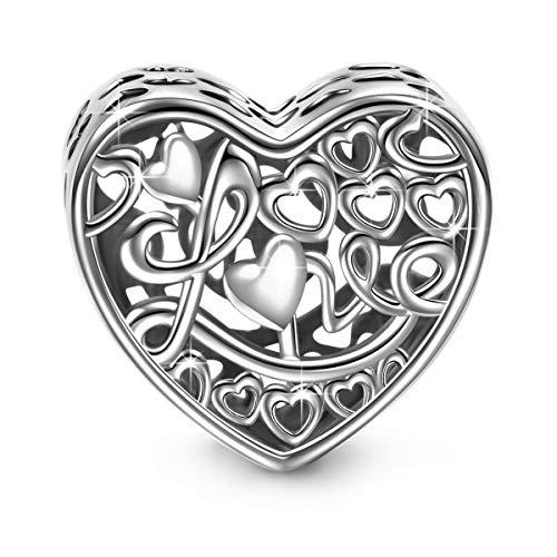 NINAQUEEN Charm per Pandora Charm Amore Eterno Regalo Donna Regali per Lei Argento 925 Regali per la Madre Fidanzata Moglie, Argento