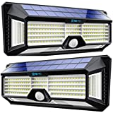Solar Lights Outdoor Super-Bright 298 LEDs 2500lm - LED Solar Motion Sensor Lights Outdoor - for Wall, Post, Pathway Garden up to 1600 sq ft - Solar Battery Powered 4400 mAh IP65 TBI Pro (2-Pack)