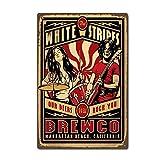 CDecor White Stripes Rock Blechschilder, Metall Poster,