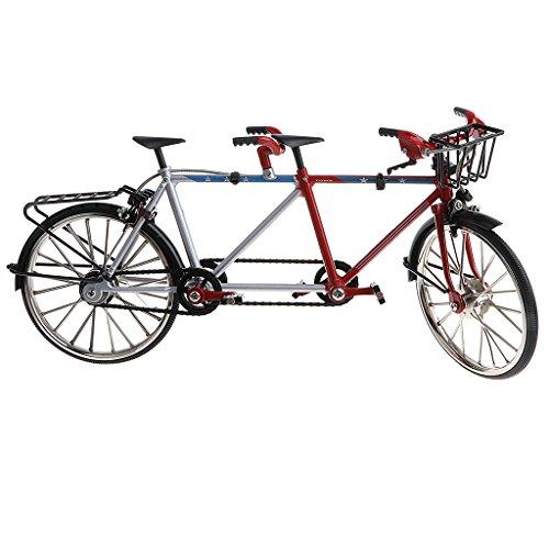 1:10 Modelo de Bicicleta Tándem de Aleación Bici de Carrera en Miniatura Negro Juego Coleccional para Niños