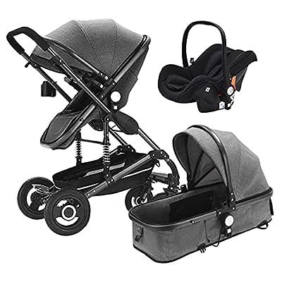 HZPXSB 3 en 1 Multi Funcional High Landscape Stroller Baby Stroller Baby PRAM BEBY Trolley Cochecitos Plegables Carrito de bebé (Color : Cool Gray)