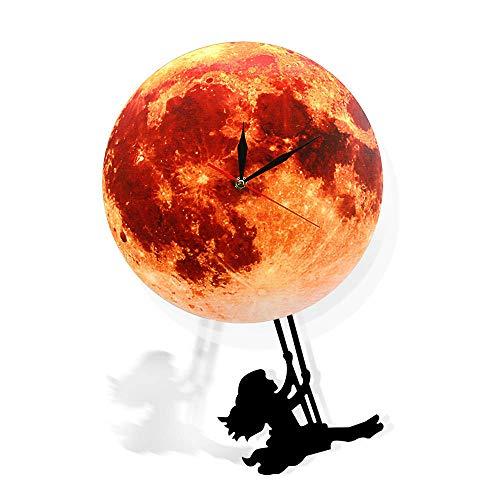 FPRW Supermoon Volle Maan Klok met Swinging Pendulum, Gouden Maan Pendulum Wandklok, Swinging On The Moon Space Galaxy Home Decor, Type 18