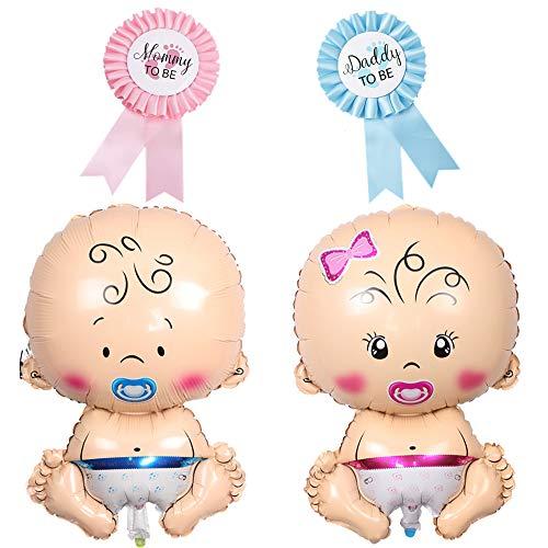 2 Piezas Globo de Aluminio Bebé Niño Niña Gigante Globo de Helio con 2 Piezas Insignia Broche Arco Mommy to be Daddy to Be, Decoración de Fiesta de Baby Shower Bienvenida de Bebe