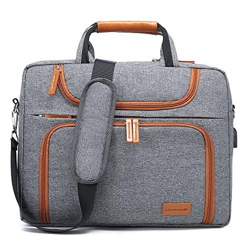 LOVEVOOK Laptop tasche 17-17.3 Zoll Notebook Tasche Wasserdicht Aktentasche Herren Schultertasche Macbook Tasche Business Taschen Herren Hellgrau