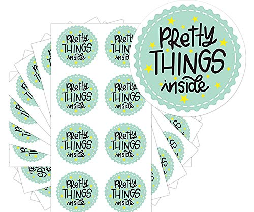 Pretty Things Inside Stickers - Round Thank You Stickers Green with Hearts Waterproof - 2 Inch 504 Total Labels (Green)
