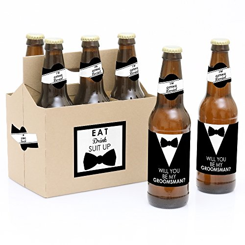 Suit Up - Will You Be My Groomsman Decorations for Men - 6 Beer Bottle Label Stickers and 1 Carrier (Gifts To Ask Someone To Be Your Bridesmaid)