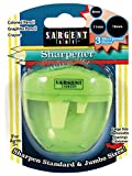 Sargent Art 36-1022 3-Hole Sharpener for Coloured/Graphite Pencils and Crayons, Green, 12.7 x 9.5 x 3.8 cm