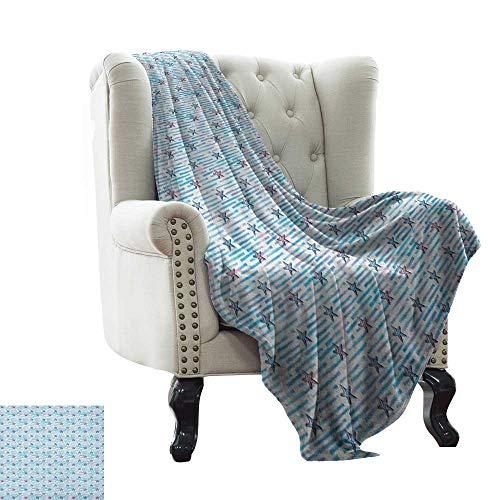 LsWOW - Manta de colchón con diseño de Estrellas, diseño de Lunares, Color Azul, Negro, Blanco y Piel sintética