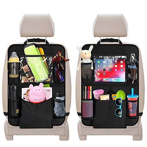 Auto Rückenlehnenschutz, laxikoo 2 Stück Auto Rücksitz Organizer für Kinder mit Große Taschen und iPad Tablet Fach, Wasserdicht Autositzschoner Rücksitzschoner Kick-Matten-Schutz für Autositz