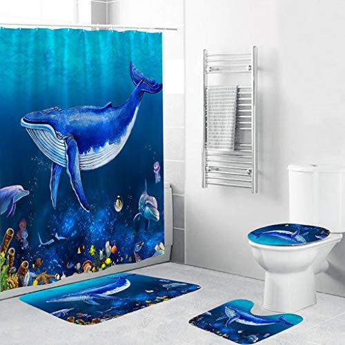 Scrolor Matte Set Toilettendeckel Abdeckung Bad Duschvorhang 4 STÜCKE rutschfeste Polyester Teppich Tür Matte Dolphins Muster(Polyesterfaser,Wie Gezeigt)