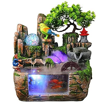 DYRABREST Tabletop Rockery Fountain Indoor Waterfall Bonsai Desktop Mini Rockery Water Fountain with LED Light, Home Office Bedroom Atomizing Humidifier Desk Décoration (Style2)