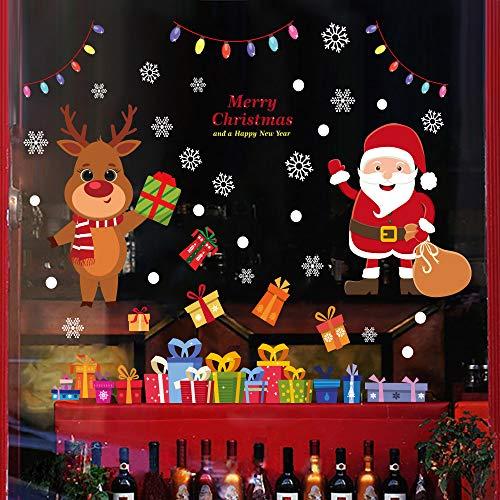 Flysee Weihnachten Fensterbilder, Schneeflocken Fensterbilder, Weihnachtsmann Süße Elche Fensterdeko für Weihnachts und Winter Dekoration, Schaufenster, Vitrinen, Glasfronten, Türen