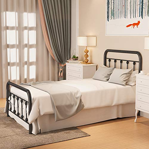 Noillats Metal Bed Frame Twin Size with Vintage Headboard and Footboard, Premium Stable Steel Slat Support Mattress Foundation, No Box Spring Needed and Easy Assembly, Gray Black