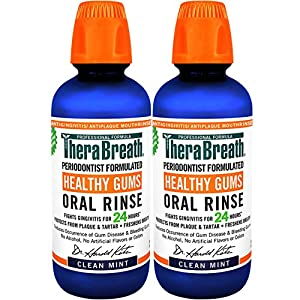 TheraBreath, Healthy Gums, 24 Hour Periodontist Formulated CPC Oral Rinse, Clean Mint, 16 Fl Oz (Pack of 2)