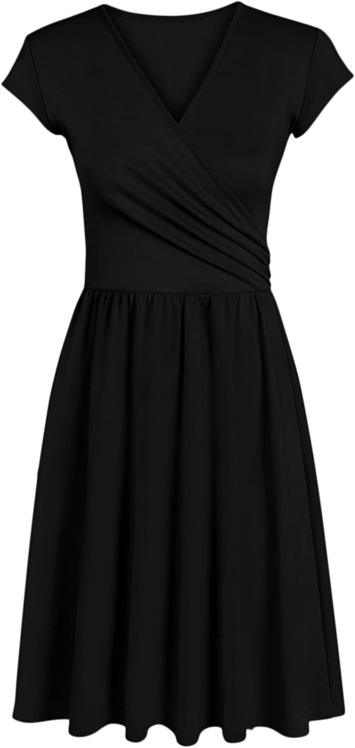 Womens Short Sleeve Wrap Dresses with Gathered Waist - Made in USA