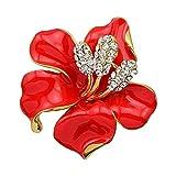 Yazilind Bijoux Lily Rouge Fabriqu' Strass Cristal Broche Fleur De Mariage Nuptiale Femmes Accessoires