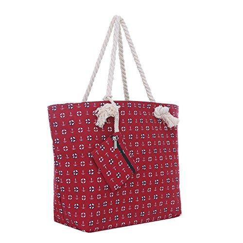 Bolsa de Playa Grande con Cremallera 58 x 38 x 18 cm diseño marítimo-Playa Rojo Shopper Bolsa de Hombro