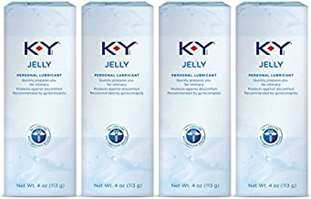 K-Y Jelly Premium Water Based Lube- Personal Lubricant Safe To Use With Latex Condoms, Devices, Sex Toys and Vibrators, 4 oz. (Pack of 4)