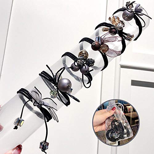 ABO Women Flower Ball Elastische Haarbänder Scrunchie Tie Gum Rope Süße Gummibänder Haarschmuck 6 Stück/Set, 3
