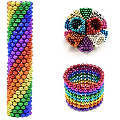 216 Pieces Magnetic Balls Sculpture Building Blocks Toys for Intelligence Learning Development Toy, Office Desk Toy & Stress Relief for Adults Educational Game Fun Office Toy (Colorful-1, 3 MM)