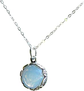 Recycled Vintage 1960's White Cold Cream Jar Glass and Sterling Silver Botanical Collection Necklace