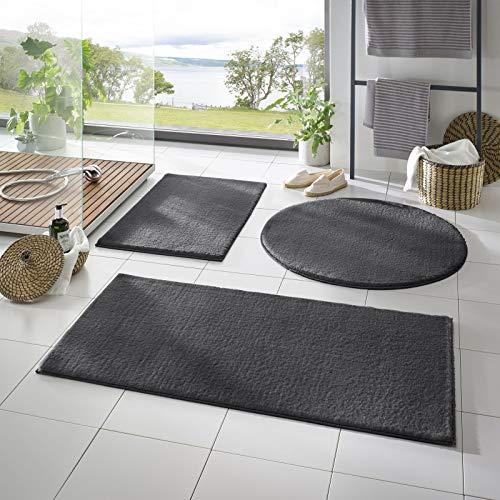 Taracarpet Badematte Fiona rutschfest waschbar Badezimmerteppich sehr weich und als Set kombinierbar Uni anthrazit 080 cm rund