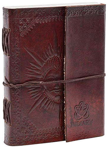 INDIARY Notizbuch aus Leder und handgeschöpftem Papier in Handarbeit gefertigt - 18cm x 13cm - Sonne