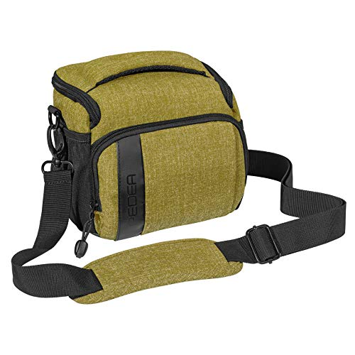 PEDEA DSLR-Kameratasche Fashion Fototasche für Spiegelreflexkameras mit wasserdichtem Regenschutz, Tragegurt und Zubehörfächern (Größe L, grün)