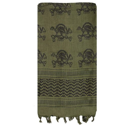 Fox Outdoor Products Tactical Shemagh, Olive Drab/Skulls