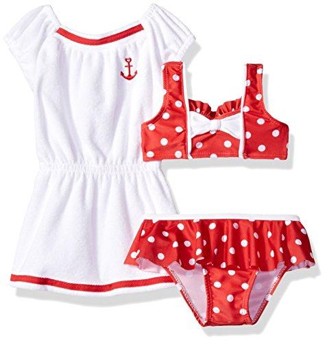 Baby Buns Baby Girls' Dotty Terry Cover up Swim Set, Multi, 24M
