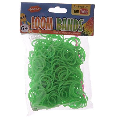 Loom Bands groen 600 stuks #50170 met haak (tool pick)