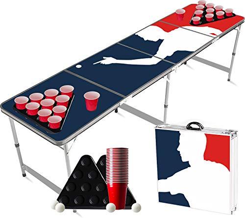 Offizieller Player Beer Pong Tisch Set | Full Beer Pong Pack | Inkl. 1 Beer Pong Tisch + 2 Beer Pong Rack + 22 Rot Becher 53cl + 4 Ping-Pong-Bälle | Premium Qualität | Partyspiele | Trinkspiele