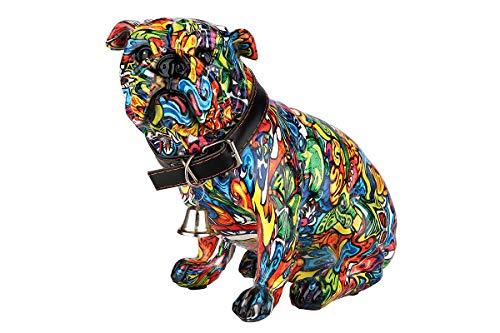 Dreamlight Sculpture Moderne Figure décorative Chien Carlin Pop Art en Pierre Artificielle Multicolore 20x17 cm