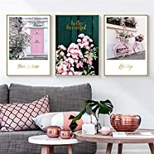 YTGDFB Pink Maiden Garden Wedding Room Flower Green Plant Bicycle Canvas Painting Art Print Poster Picture Wall Nordic Hom...