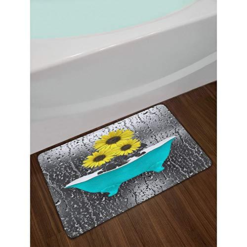 NSQBNP Blaue Badewanne mit gelben Sonnenblumen Badezimmer Vorhänge Polyester Stoff Duschvorhang Sets Badezimmer Home Decor