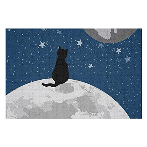 Houten puzzel 1000 PCS voor volwassenen en kinderen,Grappige zwarte kat fantaseren in de ruimte moeilijke uitdaging…