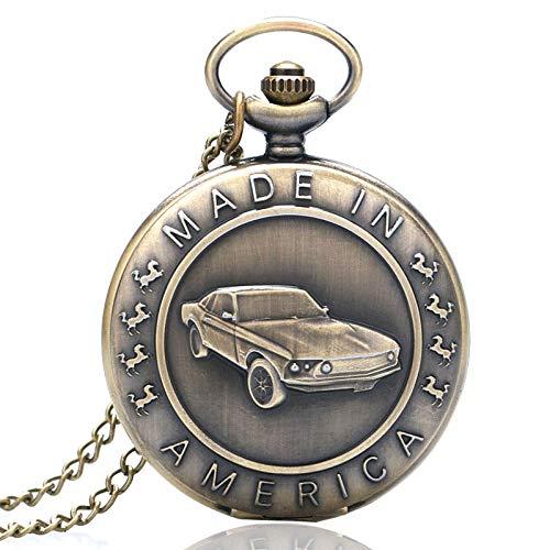 YJRIC Taschenuhr Retro Bronze Mustang Muster Auto Quarz Taschenuhr mit Halskette Kette Männer Frauen Anhänger Uhren Fallen