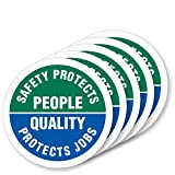 SmartSign'Safety Protects People - Quality Protects Jobs' Pack of 5 Hard Hat Labels | Retro-Reflective, 2' Circle