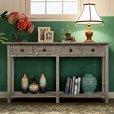 Retro Console Table Sofa Table for Entryway with Drawers and Shelf Living Room Sideboard