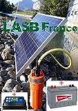 LASB France - Kit de riego solar de 100 W, con bomba solar de 70 m de profundidad y batería solar de 100 Ah + controlador de carga 30 A