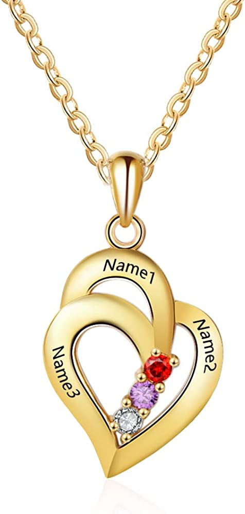 Ashleymade Personalized Hearts Necklace 3 Sacramento Mall Birthst free shipping Simulated with