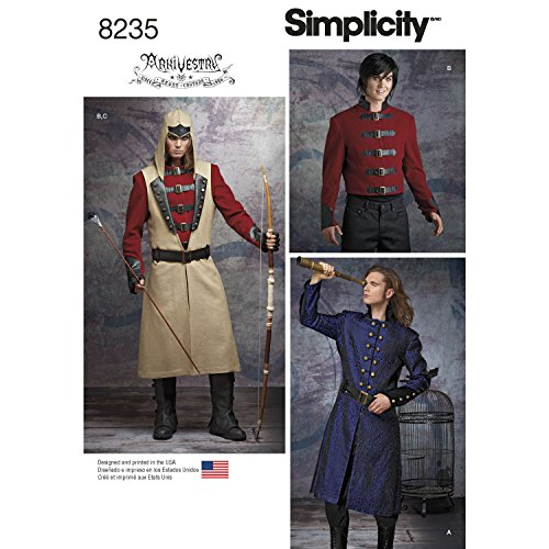 Simplicity patroon 8235 heren Cosplay kostuum patroon, wit