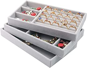 Jewellery Organiser Tray Stackable Velvet Drawer Dividers Jewellery Storage Tray Earring Ring Display Tray