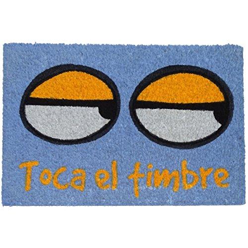KOOK TIME Felpudo Toca El Timbre, Fibra Natural de Coco, Azul, 40 x 60 cm
