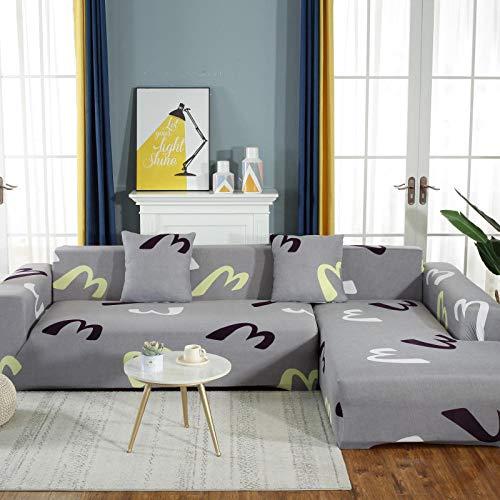 BSZHCT Funda Elástica de Sofá Letra m Funda Estampada para sofá Gris 4 Plazas Antideslizante Protector Cubierta de Muebles Cubierta de sofá seccional (235-310cm)