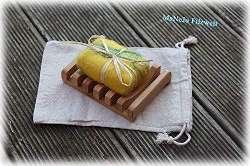 Geschenk-Set, ORANGENseife umfilzt und Seifenunterlage aus Holz,filz meets wood,Seife gefilzt,Set, Geschenk, Mitbringsel